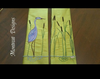 Made to Order: Heron ~ Green Silk Liturgical Stole for Ordinary Time