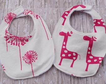 Terrycloth Baby Bib Set - Pink Set of Two