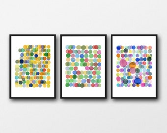 Set of Three Prints Colored Dots, Fine Art Prints of Original Watercolor Paintings, Nursery Decor