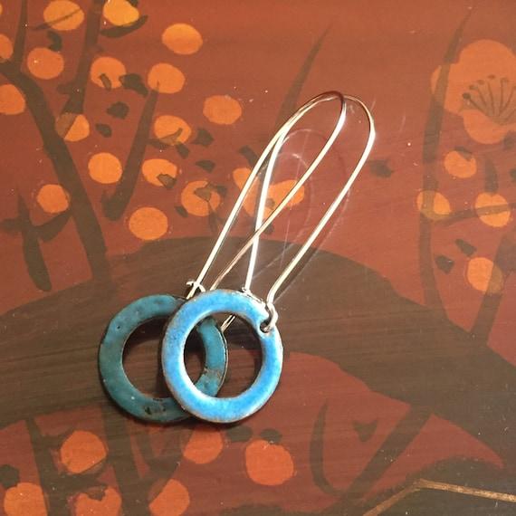 Earrings- Blue Circle Enameled Earrings