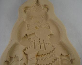 Birthday Bear Brown Bag Cookie Art Mold 1986