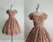 50's Chiffon Dress // Vintage 1950's Brown Floral Print Chiffon Garden Cocktail Party Prom Dress S
