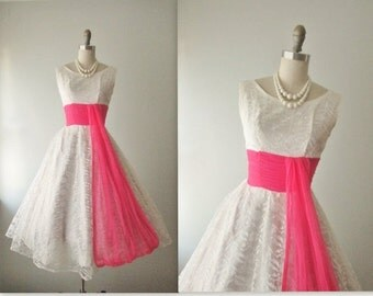 STOREWIDE SALE 50's Wedding Dress // Vintage 1950's White Lace Chiffon Wedding Dress Tea Gown XS