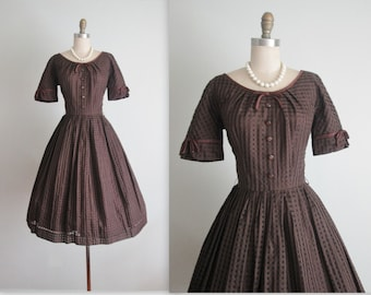 50's Dress // Vintage 1950's Brown Plaid Full Casual Day Dress s