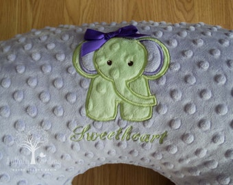 Personalized Minky Boppy Cover, Appliqued Elephant Boppy Cover, Personalized Baby Gift, Boppy Pillow Cover, Nursing Pillow Cover