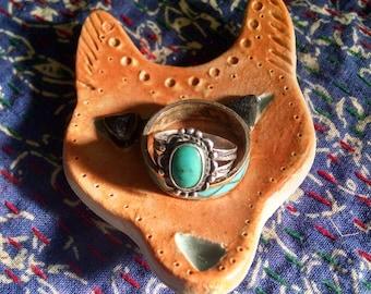 Coyote Ring Holder, Ceramic Jewelry Dish, Ring Dish