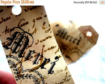 25 Stamped Cottage Chic MERCI Hang Tags - Hand Stamped - Favors