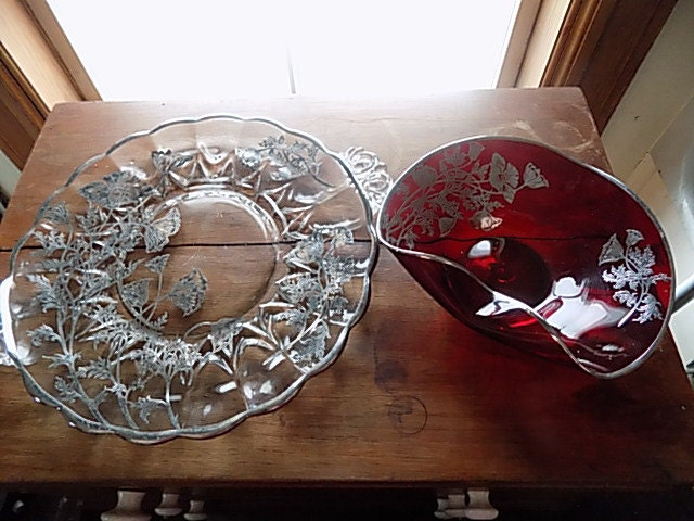 antique serving platter candy dish ruby red clear glass. Black Bedroom Furniture Sets. Home Design Ideas