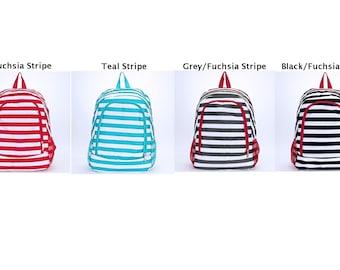 Girls' Backpack; Ruffled Backpack; Full Size Backpack, Stripe Backpack