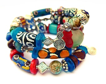 AFRICAN TWISTER - Fabulous Tribal Authentic Krobo Trade Bead Wrap Bracelet