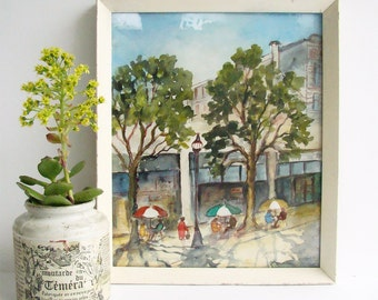 Original Watercolour, Collins St Melbourne, Jean Connell, 1960s Painting, Street Cafe Painting, Paris End, Parisian Quarter,