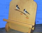 Cookbook holder,  cookbook stand, recipe holder,  tablet stand,  ipad stand, wooden book holder, book rest, chickadees