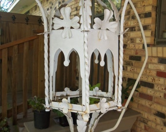 Rusty, Shabby, Vintage Metal Lantern, Light Fixture, White, Patio, Garden