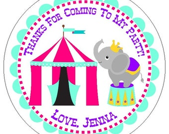 girl circus birthday labels, pink carnival birthday party stickers, custom circus party labels, elephant party stickers, 3 sizes available