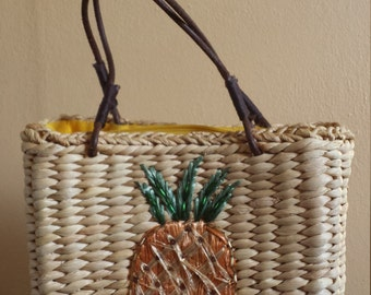 Vintage Melissa Straw Bag with Pineapple