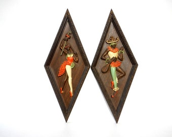 Vintage 1960s/70s Two Molded Plastic Harlequin Wall Hangings/Vintage Mardi Gras