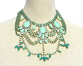 Hand Painted Vintage Rhinestone Necklace, Rhinestone Bib Necklace & Matching Earrings