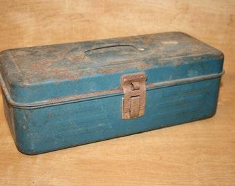 Vintage Metal Tackle Box - Blue Green - item #1909