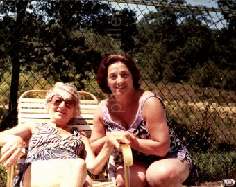 Vintage Photo, Mother and Daughter, Women's Bathing Suits, Color Photo, Found Photo, Snapshot, Old Photo, Vernacular Photo,    AUGUSTINE0829