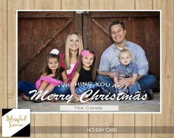 Custom Photo Christmas Card | Christmas Card | Holiday Photo Card | DIY Printable | Wishing You A Merry Christmas | White | Simple