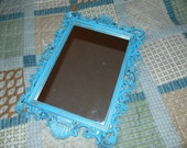 Aqua Mirror, Seashell Design,  Wall Mirror ,Beach Decor, Shown In Distressed Aqua 20 x 14 1/2 Choose Color