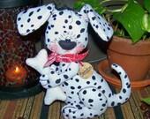 Primitive Dalmatian with Bone Shelf Sitter Ornie