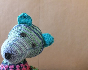 Teddy bear, Munna II, hand knitted cotton bear, colourful toy, hand made toy