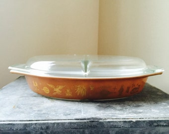 Pyrex Early American Covered Divided Casserole Dish With Lid 1 1/2 quart