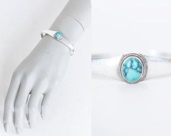 Vintage 70s Sterling Bracelet / 1970s Silver and Turquoise Cuff Bracelet