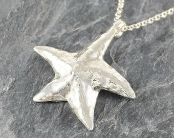 Starfish Sterling Silver Necklace, Beach Necklace, Star Necklace, Sea Star Pendant ,Starfish Necklace ,Star Fish Necklace ,Starfish Jewelry