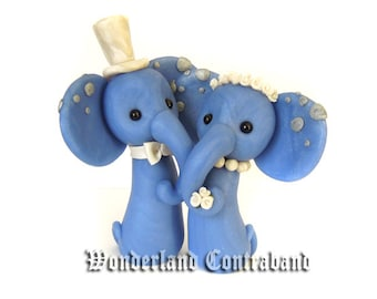 LAST CHANCE - Ready To Ship - Mr. and Mrs. Elephant - Wedding Cake Topper - Original OOAK Miniature Sculptures - Decor