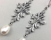 Long Pearl Earrings Silver Vintage Chandelier Earrings Fleur De Lis With White Swarovski Pearls