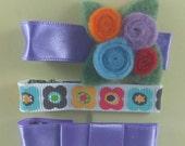 Marikit Designs Purple Hair clip set. Barrettes. Alligator clip