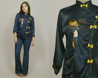 Cheongsam Top Embroidered Dragon Blouse 70s Ethnic Tunic Traditional Chinese 1970s Hippie Navy Blue Satin Mandarin Collar / Size M Medium