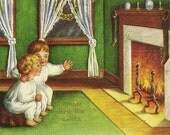 Almost Time For Santa Charming Brother and Sister Waiting by the Fireplace Vintage Christmas Postcard 1914