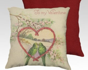 Valentine Pillow Cover 18x18 Velveteen Pillow Cover Two Love Birds in Heart OOAK Vintage Inspired Home Décor Accent  ~ To My Valentine