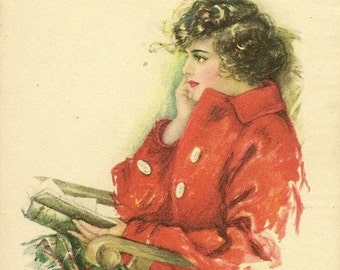 Pearle Fidler LeMunyan - Pensive Lady Reading Vintage Postcard American Girl No 85 Entitled A Tonic