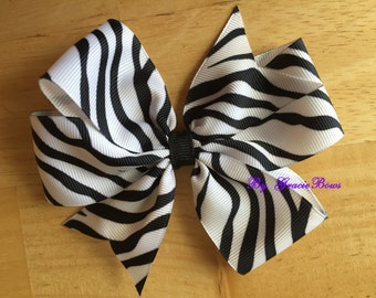 Black and White Zebra Print Large Pinwheel Bow