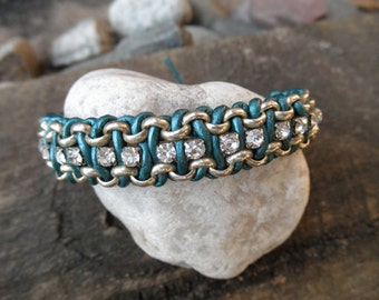 Teal Leather and Chain Bracelet - with rhinestones