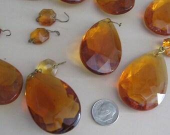 Nine Vintage Amber Glass Faceted Prism Teardrop Chandelier Crystals Drops