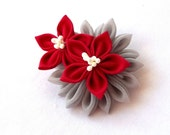 Elegant Red and Gray Kanzashi Hair Flower Clip