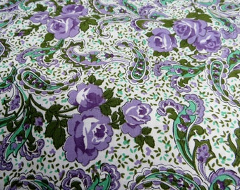 Sweet Purple Paisley and Roses Cotton Fabric Yardage Sewing Quilting Crafting Fabric