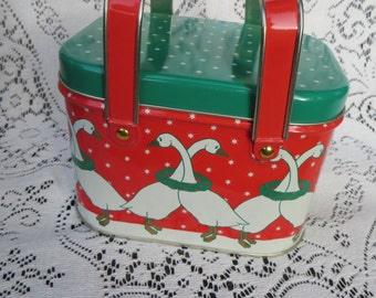 Christmas Basket Tin Container Vintage Tin Box with Handles Container with Geese 1988