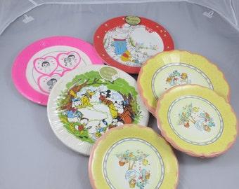 Vintage Paper Plates Vintage Party Decor Paper Decor Lot of Vintage Paper Plates Baby Birthday Valentines Day