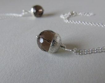 Silver and smoky quartz bead acorn necklace