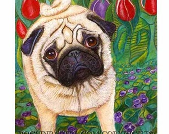 Pug painting art dog tulips violets ORIGINAL pug Dog art animal pet portrait