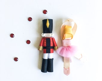 Nutcracker sculpture ribbon hair clip / ballet hair clip / barrette / girl hair clip / baby hair clip - Personalize your own
