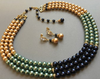 Pearl Necklace Earrings Set with Navy Blue Mint and Vintage Gold Swarovski Pearls and Rhinestone or your choice of colors 3 multi strands
