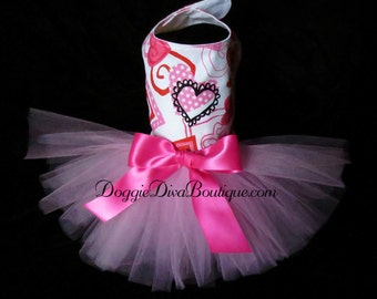 Dog Dress, Dog Tutu Dress, Hearts XXS, XS, Small or Medium