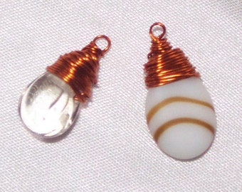 COPPER WRAPPED Glass Pendants * 2 pieces *